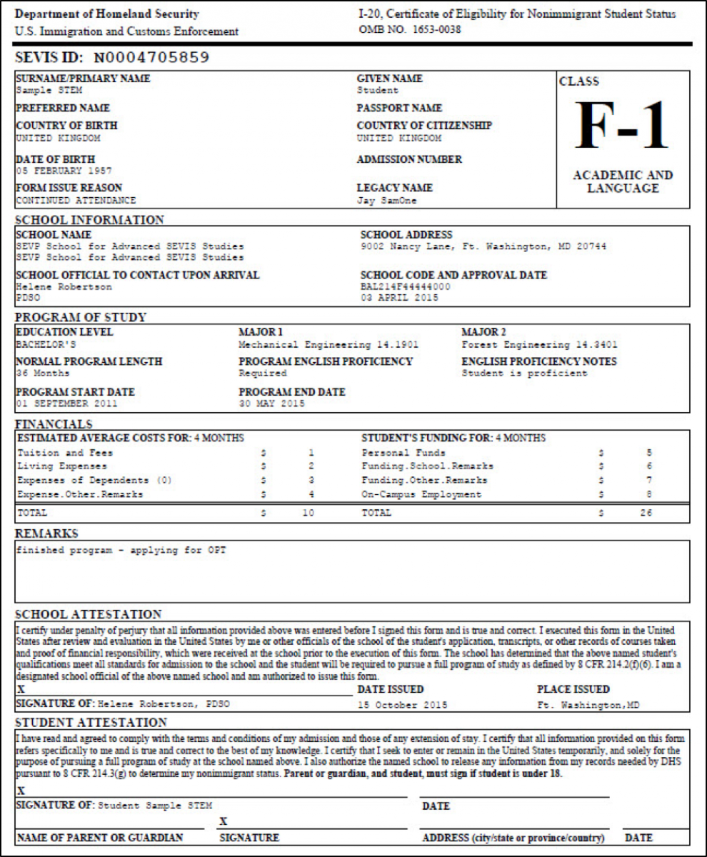 form-1-20-page-1 Sample Intern Application Form on high school, u.s. visa, college admission, internal job, apartment rental, internal employment, business credit, college scholarship, house rental, japan embassy visa, bridge 2rwanda,